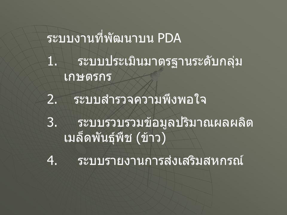 ระบบงานที่พัฒนาบน PDA