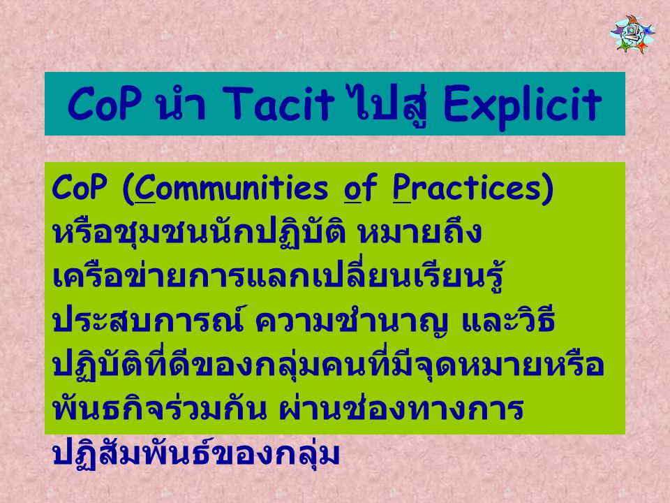 CoP นำ Tacit ไปสู่ Explicit