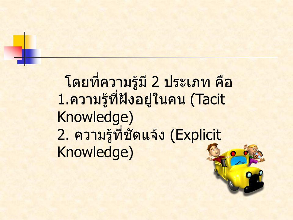 โดยที่ความรู้มี 2 ประเภท คือ