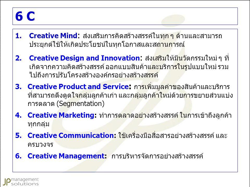 6 C Creative Mind: ส่งเสริมการคิดสร้างสรรค์ในทุก ๆ ด้านและสามารถ ประยุกต์ใช้ให้เกิดประโยชน์ในทุกโอกาสและสถานการณ์