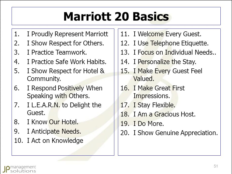 Marriott 20 Basics I Proudly Represent Marriott