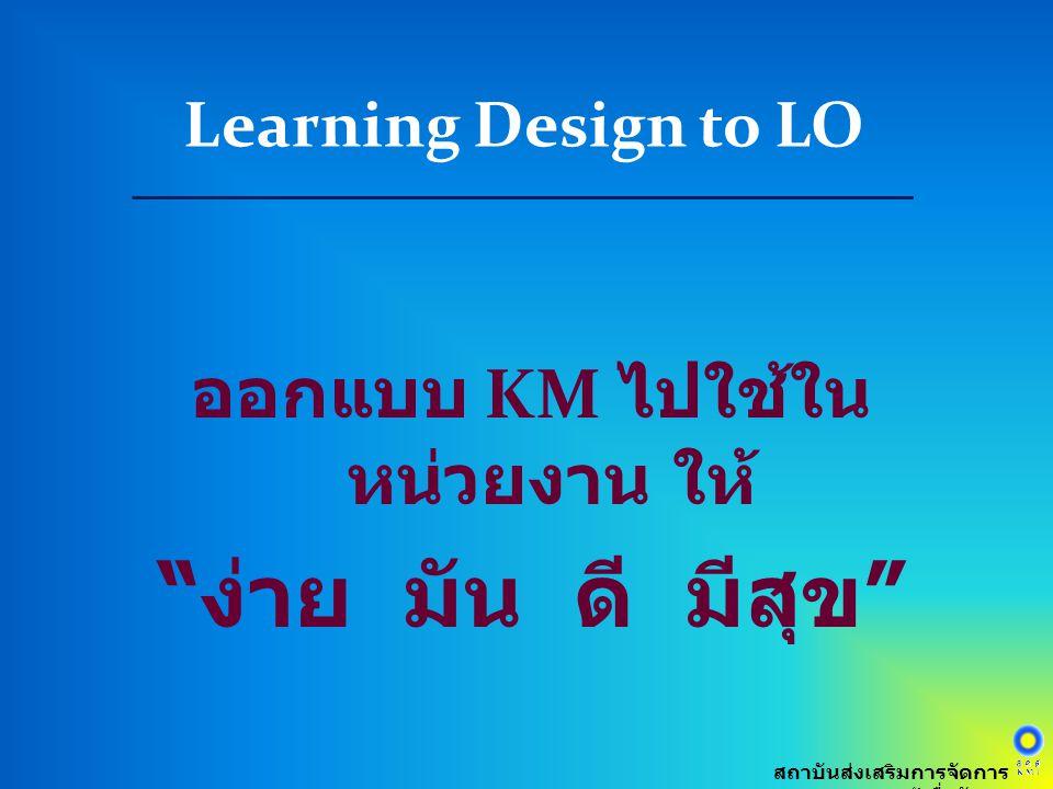 ออกแบบ KM ไปใช้ในหน่วยงาน ให้