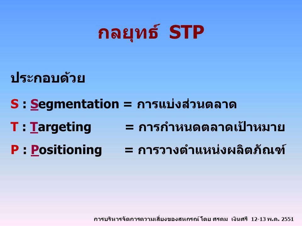 กลยุทธ์ STP ประกอบด้วย S : Segmentation = การแบ่งส่วนตลาด