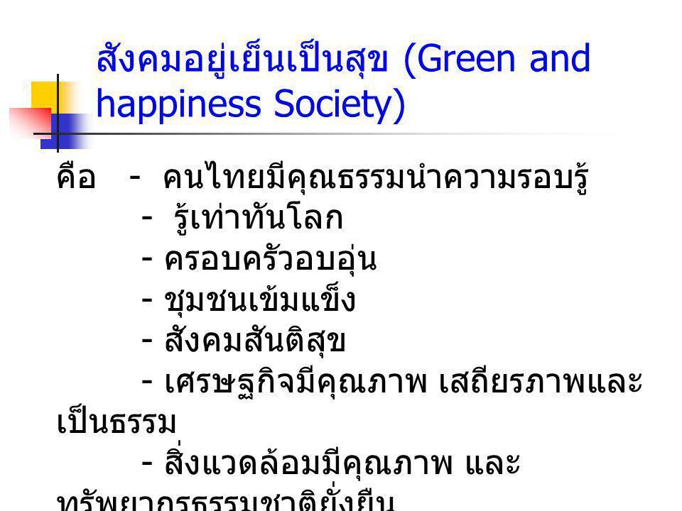 สังคมอยู่เย็นเป็นสุข (Green and happiness Society)