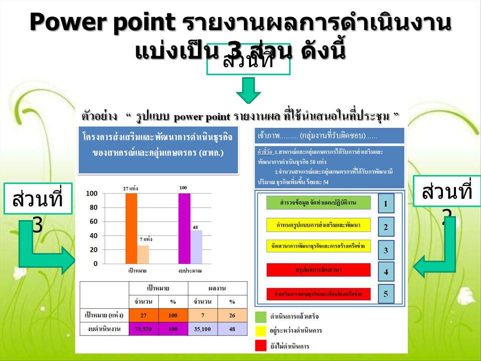 Power point รายงานผลการดำเนินงาน แบ่งเป็น 3 ส่วน ดังนี้