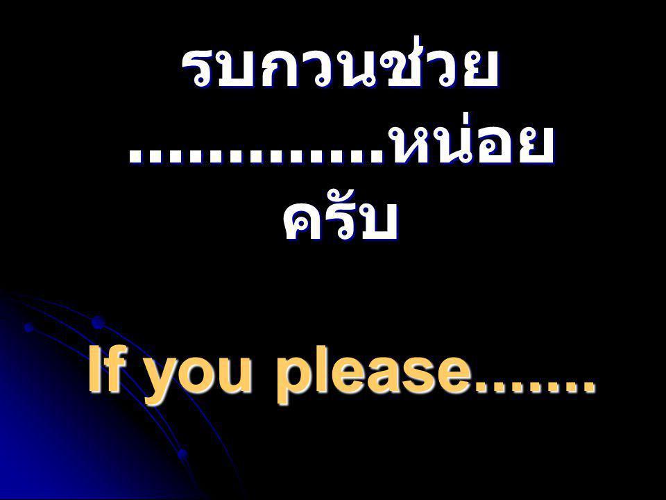 รบกวนช่วย.............หน่อยครับ If you please.......