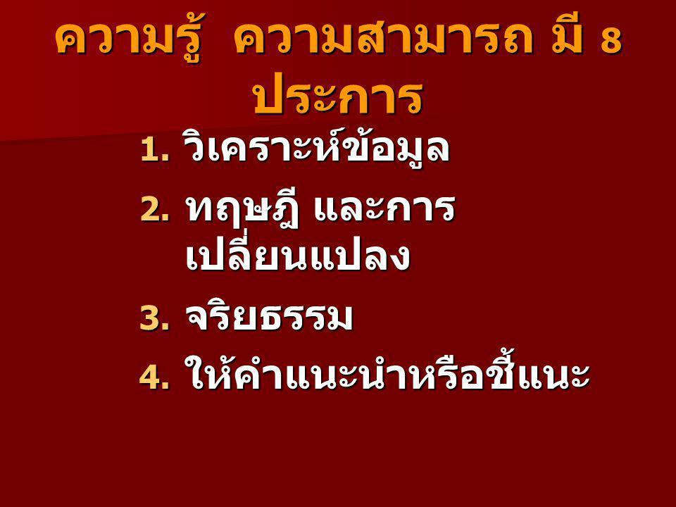 ความรู้ ความสามารถ มี 8 ประการ