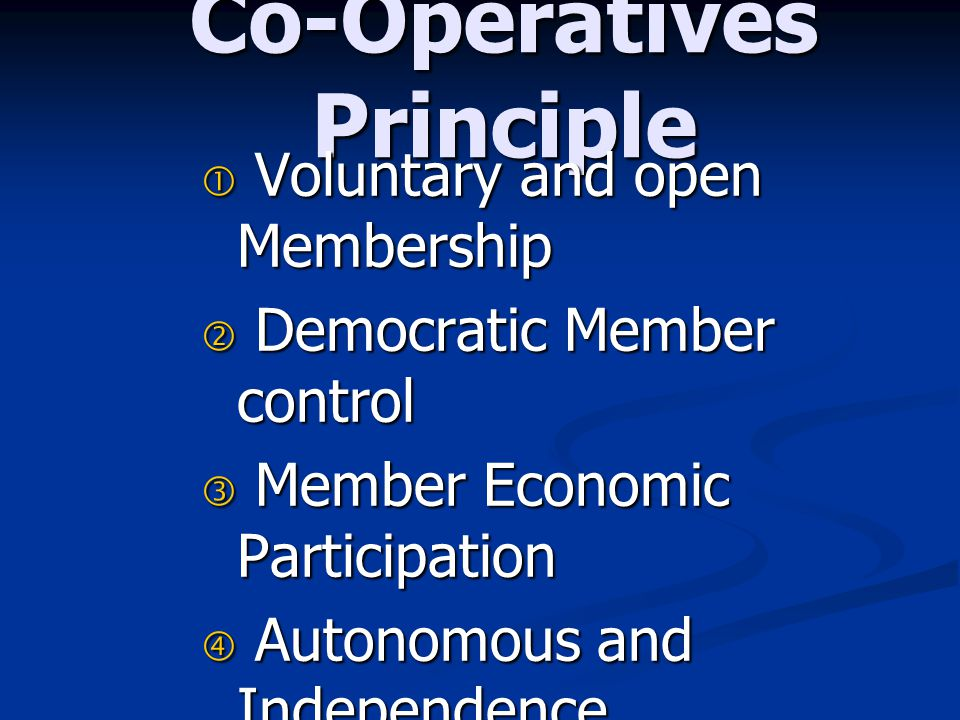 Co-Operatives Principle
