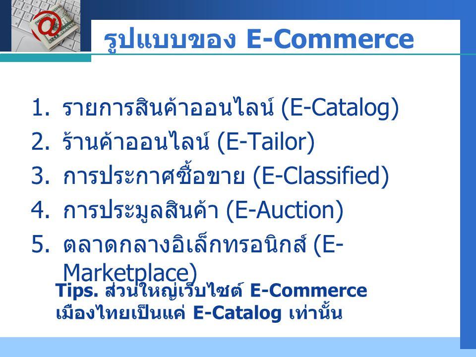 รูปแบบของ E-Commerce รายการสินค้าออนไลน์ (E-Catalog)