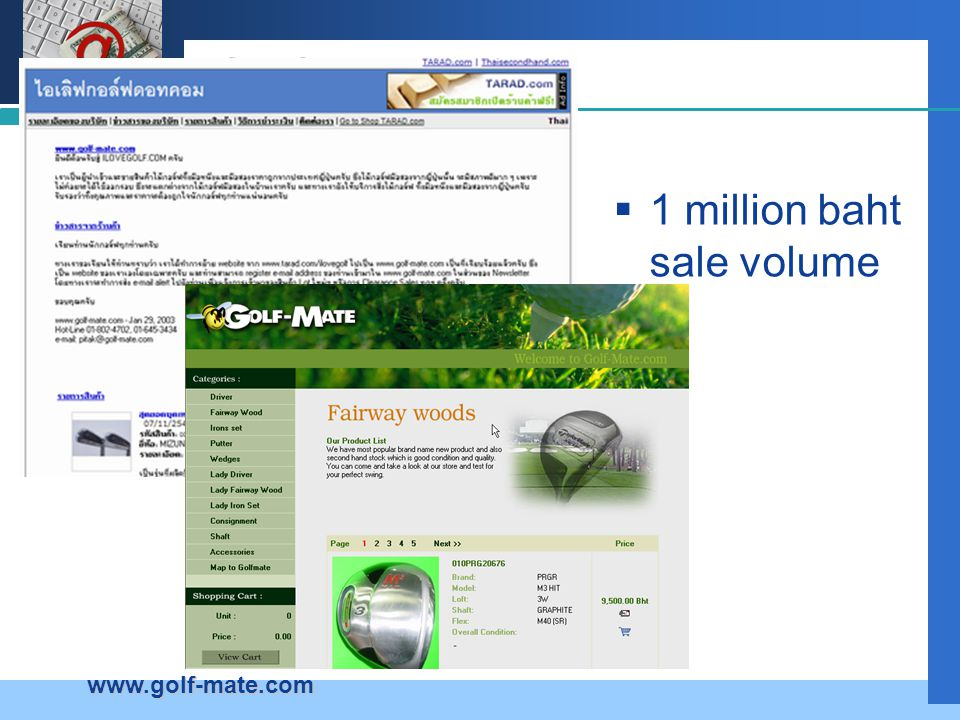 Golf 1 million baht sale volume www.golf-mate.com