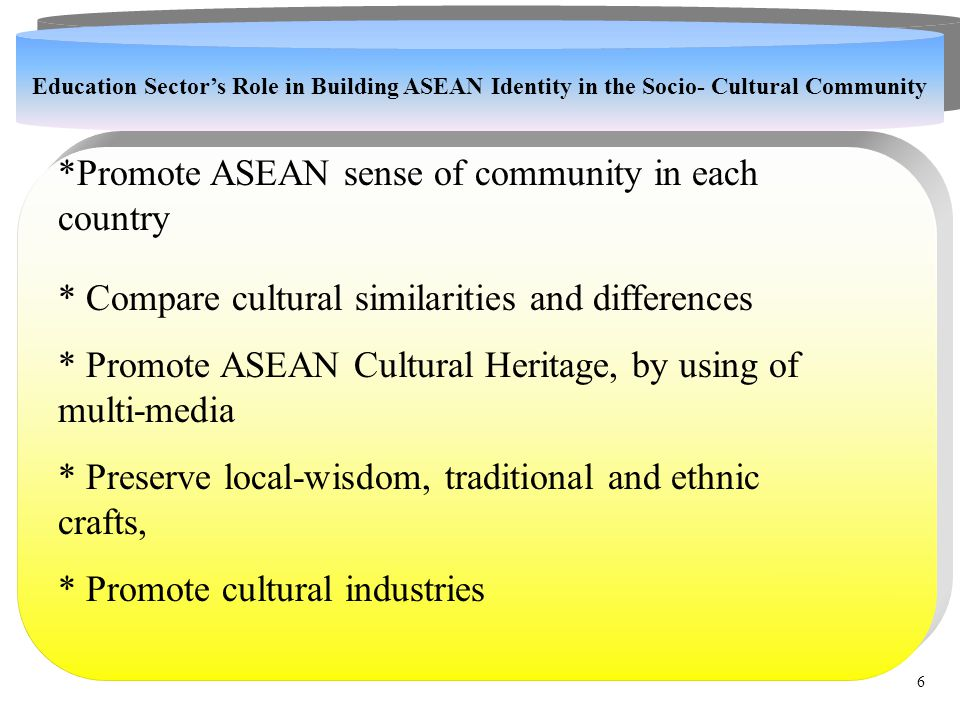 . *Promote ASEAN sense of community in each country