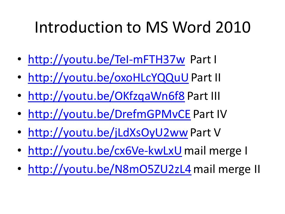 Introduction to MS Word 2010