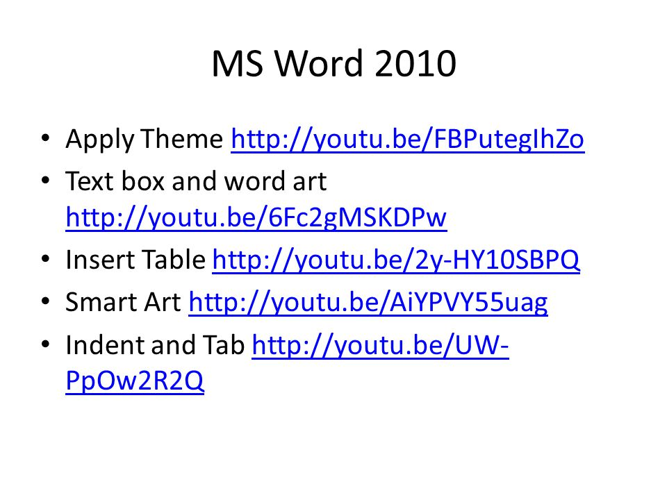 MS Word 2010 Apply Theme