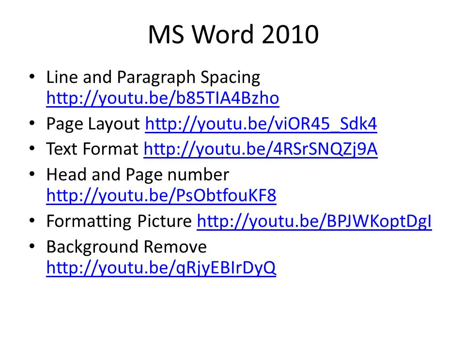 MS Word 2010 Line and Paragraph Spacing http://youtu.be/b85TIA4Bzho