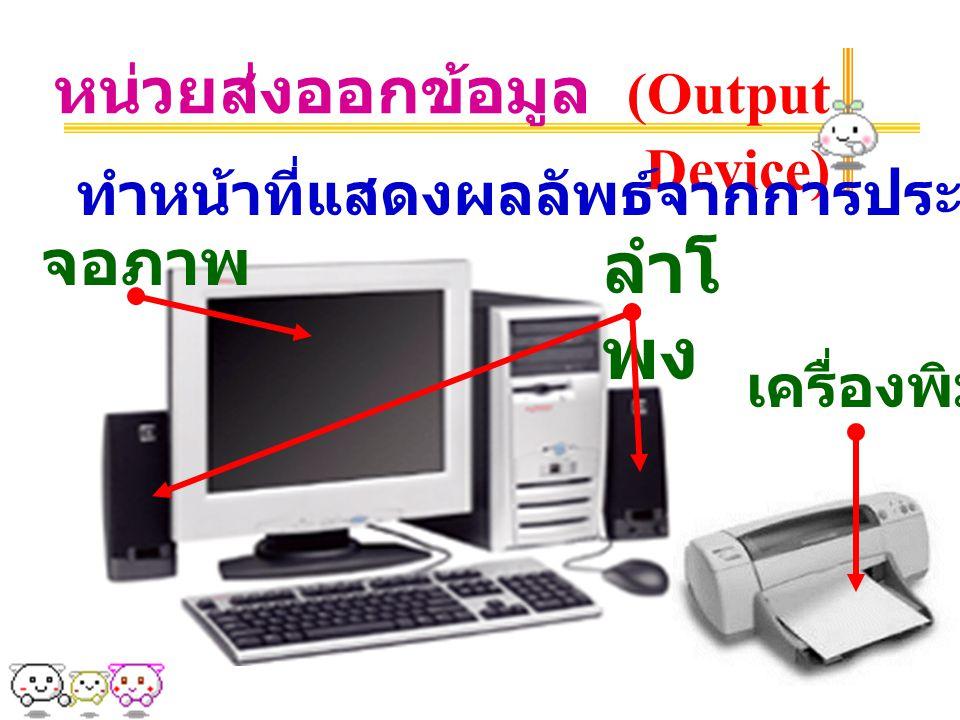 ลำโพง หน่วยส่งออกข้อมูล (Output Device) จอภาพ