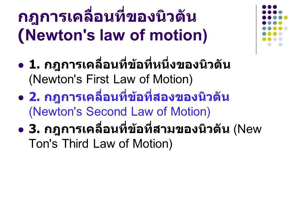 กฎการเคลื่อนที่ของนิวตัน (Newton s law of motion)