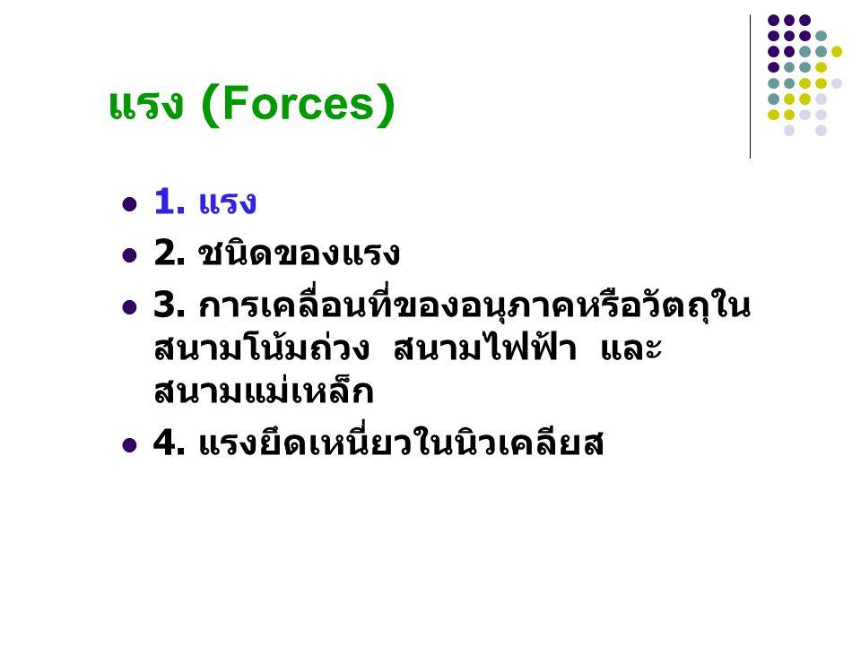 แรง (Forces) 1. แรง 2. ชนิดของแรง
