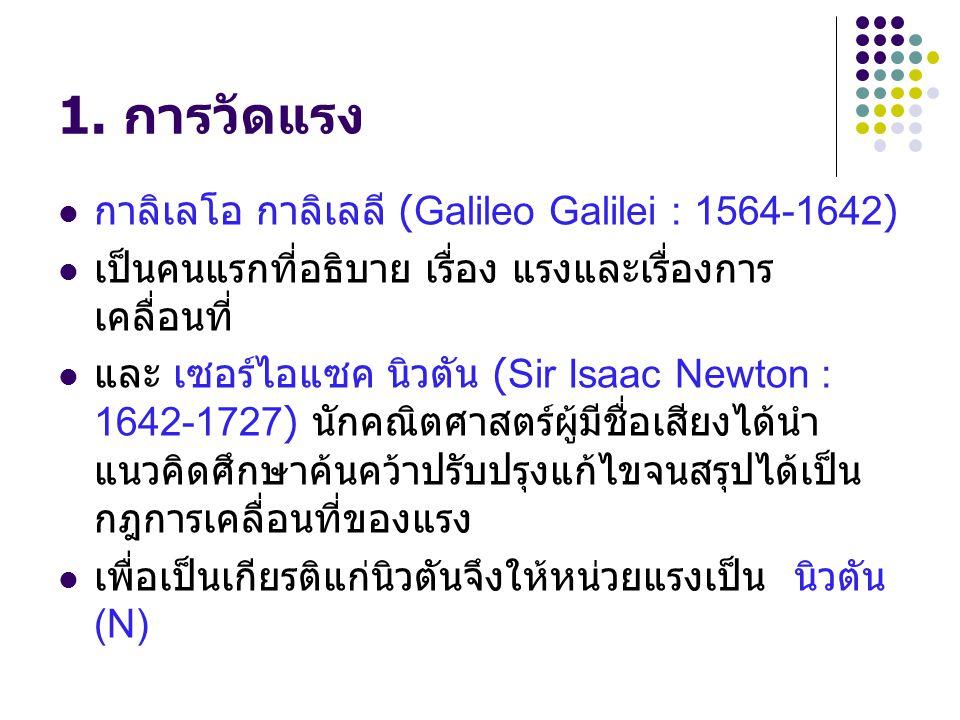 1. การวัดแรง กาลิเลโอ กาลิเลลี (Galileo Galilei : 1564-1642)