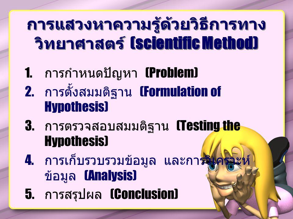 การแสวงหาความรู้ด้วยวิธีการทางวิทยาศาสตร์ (scientific Method)