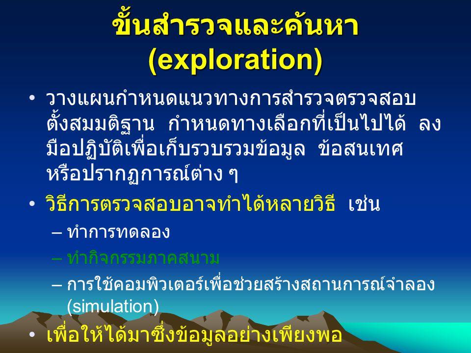 ขั้นสำรวจและค้นหา (exploration)