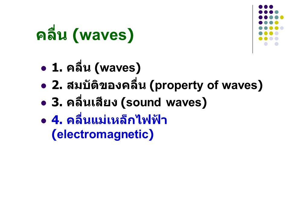 คลื่น (waves) 1. คลื่น (waves) 2. สมบัติของคลื่น (property of waves)