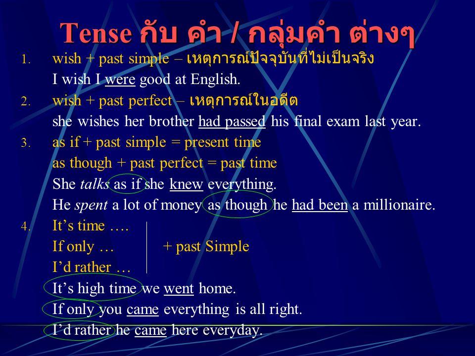 Tense กับ คำ / กลุ่มคำ ต่างๆ