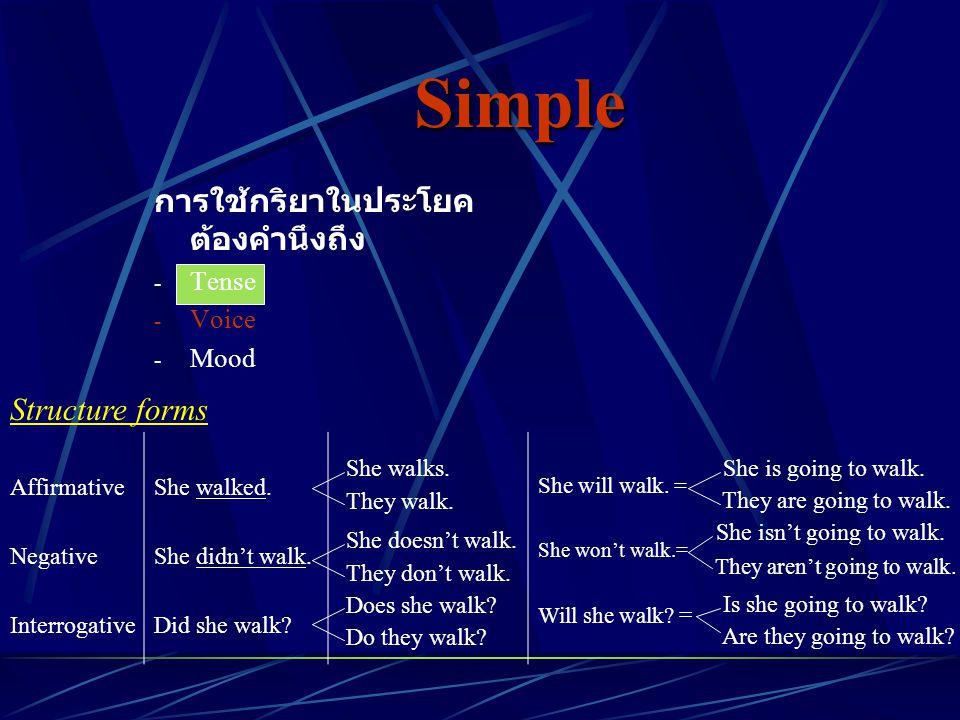 Simple การใช้กริยาในประโยค ต้องคำนึงถึง Structure forms Tense Voice