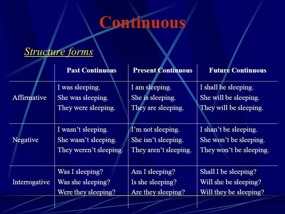 Continuous Structure forms Past Continuous Present Continuous