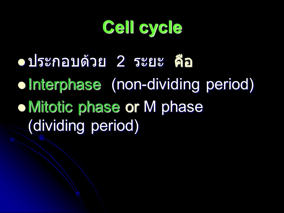 Cell cycle ประกอบด้วย 2 ระยะ คือ Interphase (non-dividing period)