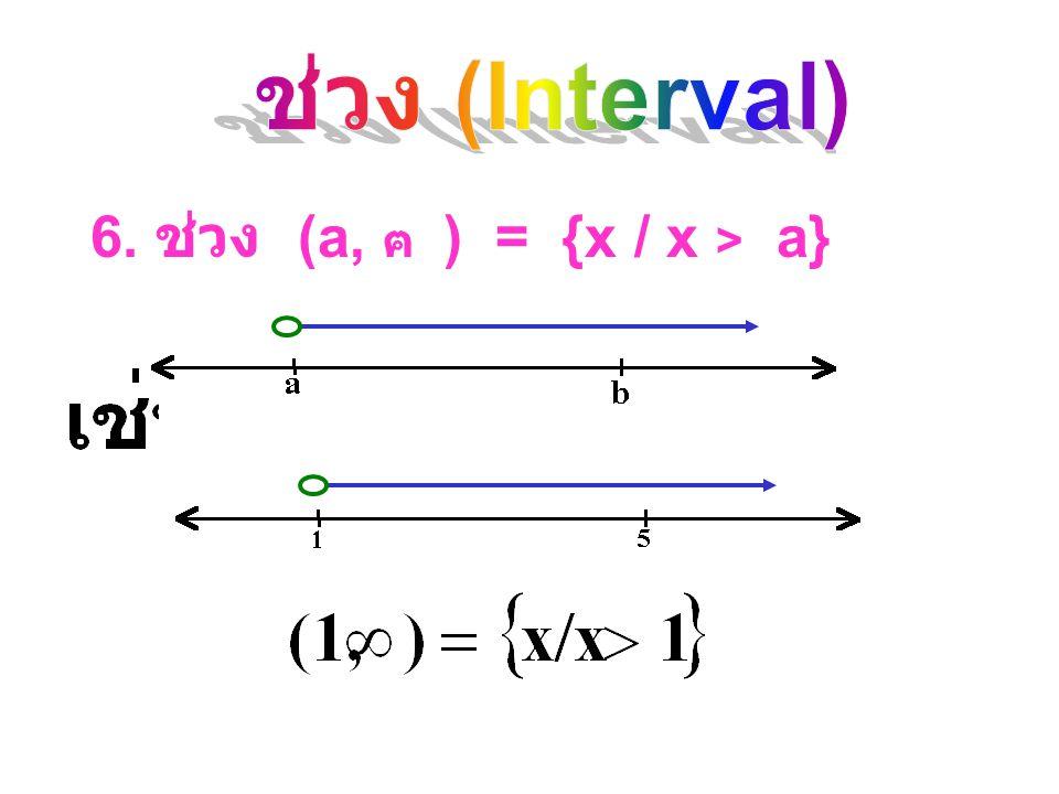 ช่วง (Interval) 6. ช่วง (a, ฅ ) = {x / x > a}