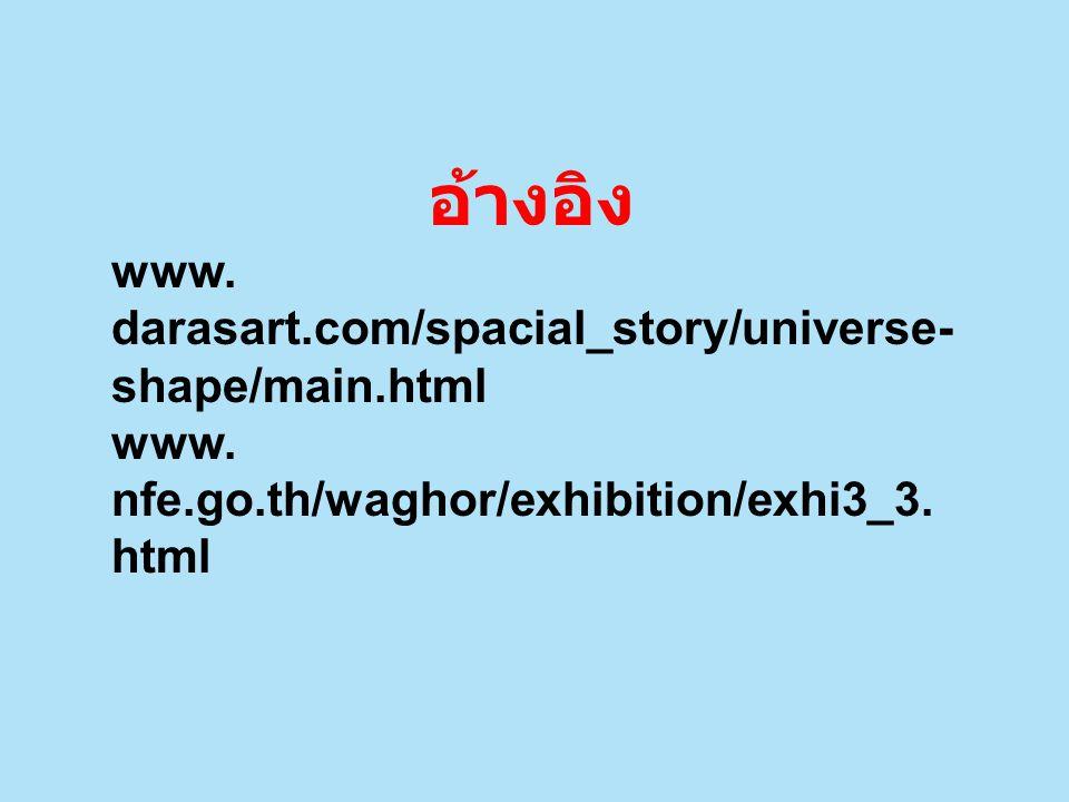 อ้างอิง www. darasart.com/spacial_story/universe-shape/main.html