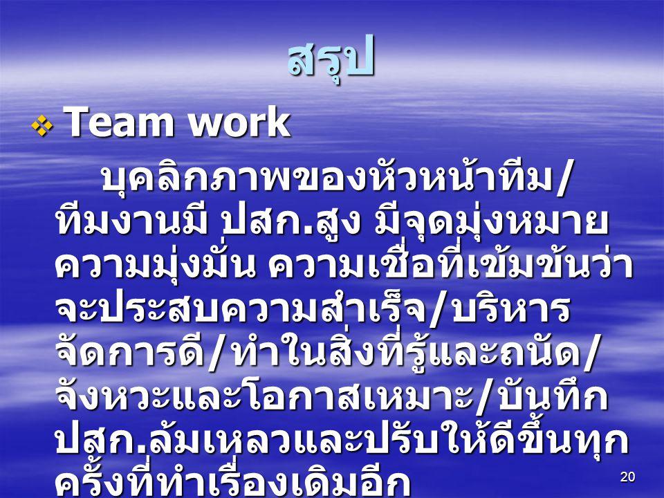 สรุป Team work.