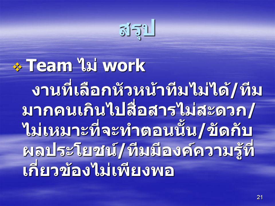 สรุป Team ไม่ work.