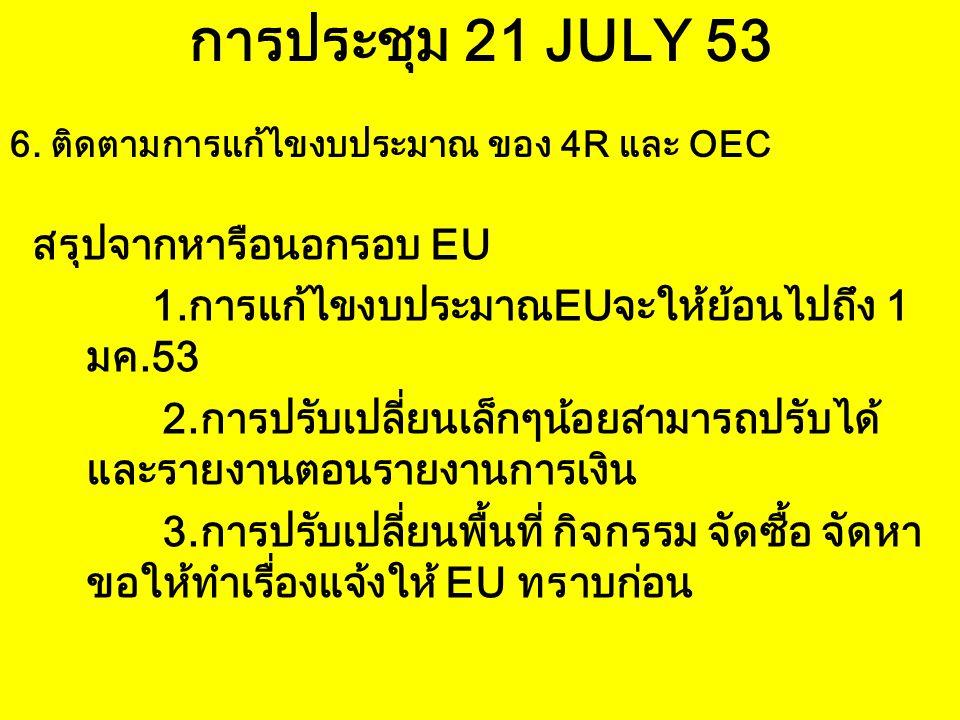 การประชุม 21 JULY 53 สรุปจากหารือนอกรอบ EU
