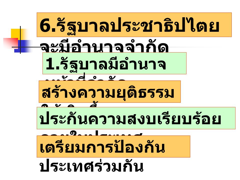 6.รัฐบาลประชาธิปไตยจะมีอำนาจจำกัด