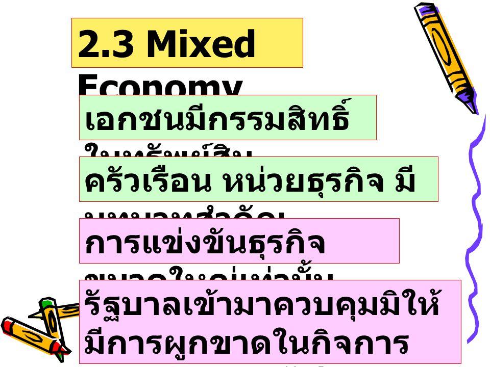 2.3 Mixed Economy เอกชนมีกรรมสิทธิ์ในทรัพย์สิน