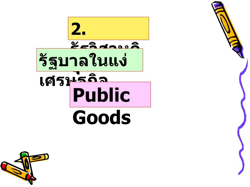 2. รัฐวิสาหกิจ รัฐบาลในแง่เศรษฐกิจ Public Goods