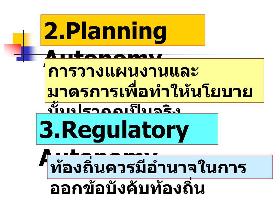 2.Planning Autonomy 3.Regulatory Autonomy