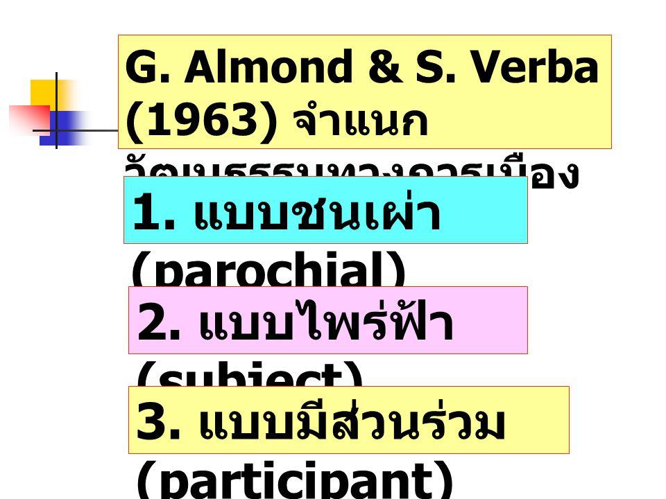 1. แบบชนเผ่า (parochial)