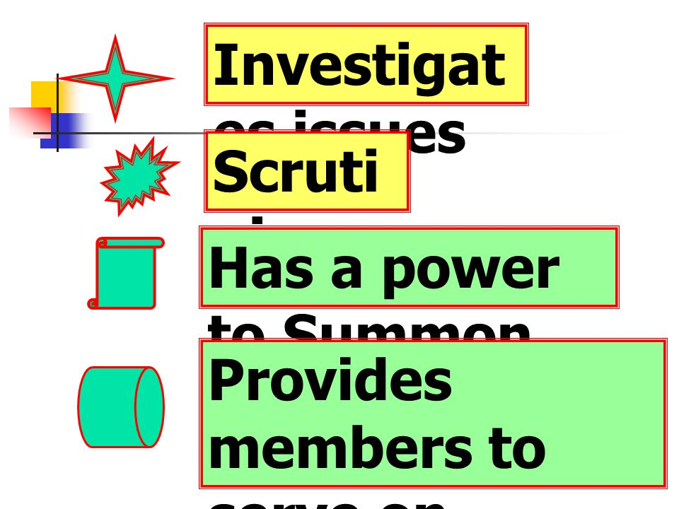 Investigates issues Scrutinises Has a power to Summon Provides members to serve on
