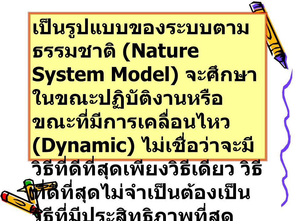 เป็นรูปแบบของระบบตามธรรมชาติ (Nature System Model) จะศึกษาในขณะปฏิบัติงานหรือขณะที่มีการเคลื่อนไหว (Dynamic) ไม่เชื่อว่าจะมีวิธีที่ดีที่สุดเพียงวิธีเดียว วิธีที่ดีที่สุดไม่จำเป็นต้องเป็นวิธีที่มีประสิทธิภาพที่สุด