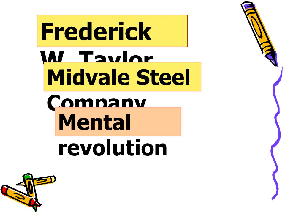Frederick W. Taylor Midvale Steel Company Mental revolution