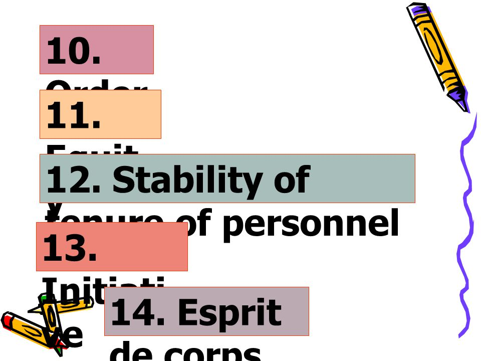 10. Order 11. Equity 12. Stability of tenure of personnel 13. Initiative 14. Esprit de corps