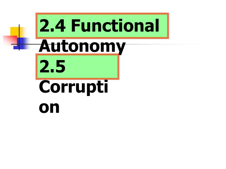 2.4 Functional Autonomy 2.5 Corruption