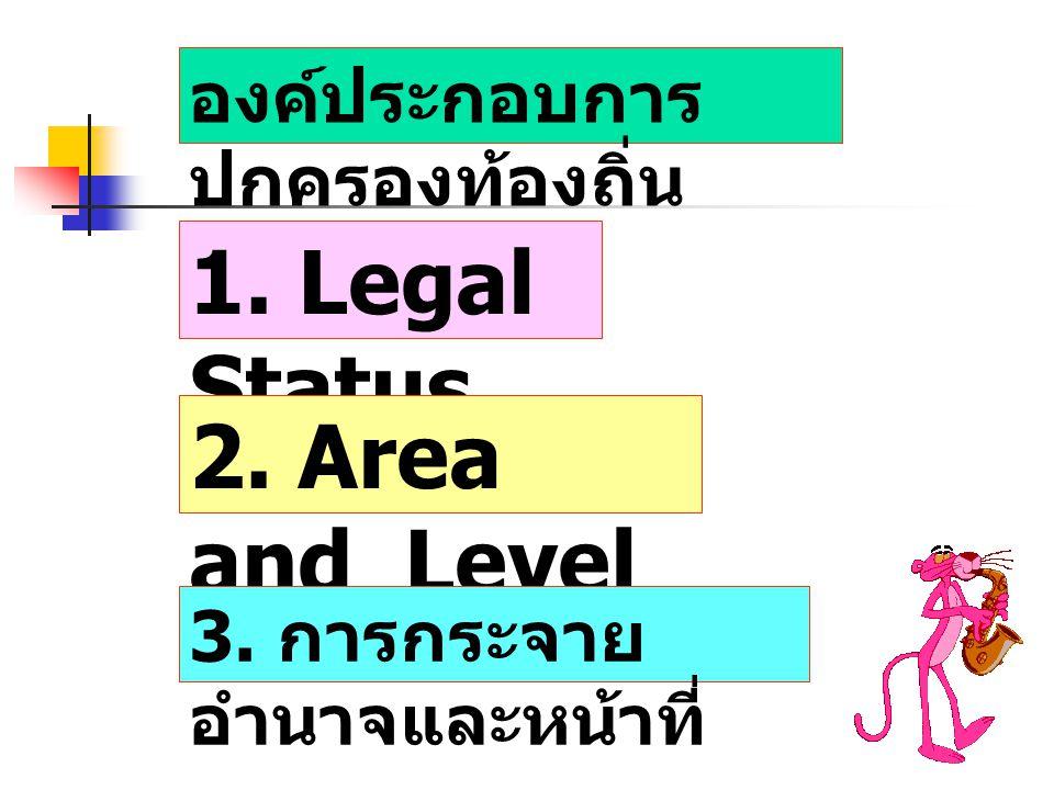 1. Legal Status 2. Area and Level องค์ประกอบการปกครองท้องถิ่น
