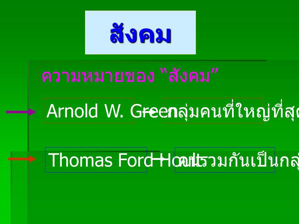 สังคม ความหมายของ สังคม Arnold W. Green กลุ่มคนที่ใหญ่ที่สุด