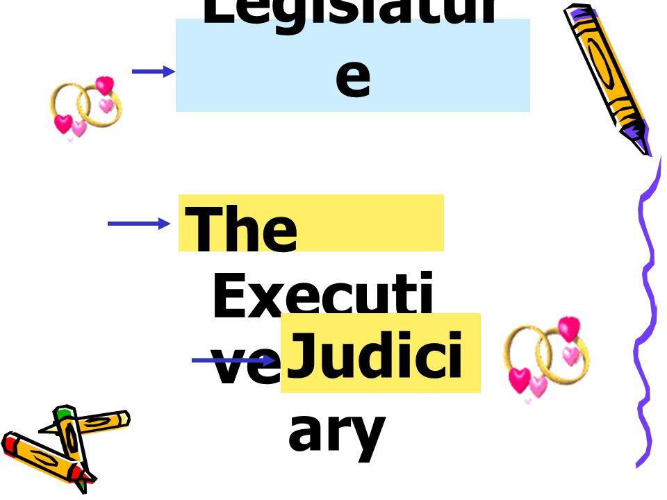 The Legislature The Executive Judiciary