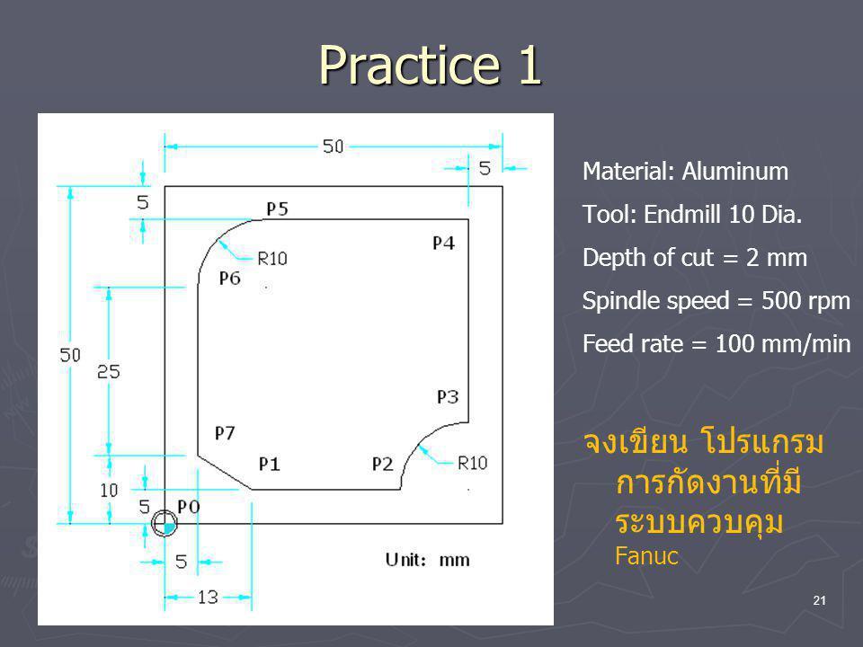 Practice 1 จงเขียน โปรแกรมการกัดงานที่มีระบบควบคุม Fanuc