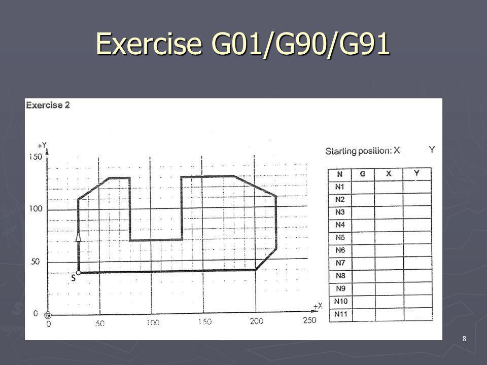 Exercise G01/G90/G91