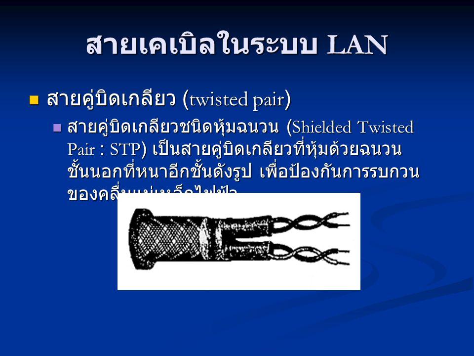 สายเคเบิลในระบบ LAN สายคู่บิดเกลียว (twisted pair)